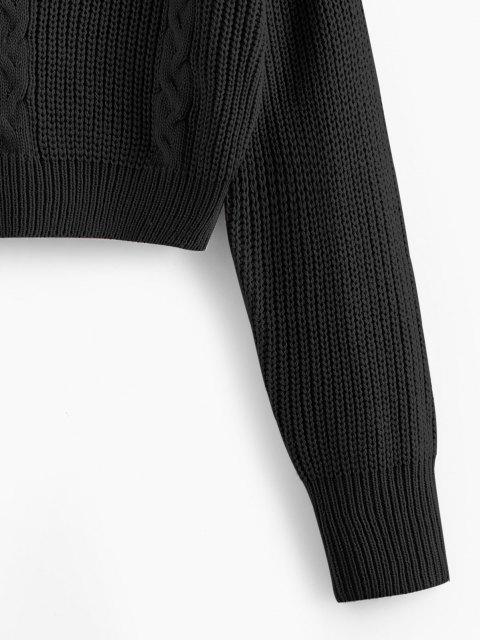 ZAFUL Kreuzer und Querer Zopfmuster Crop Pullover - Schwarz M Mobile