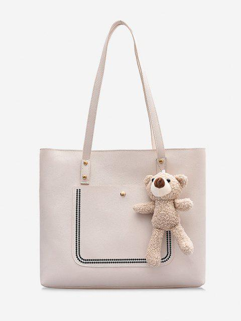 sale Large Capacity Pure Color Tote Bag - MILK WHITE  Mobile