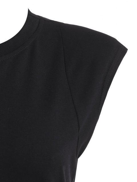 ladies Padded Shoulder Front Slit Tank Dress - BLACK L Mobile