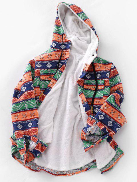 online Ethnic Tribal Pattern Plush Hooded Shirt Jacket - DARK ORANGE L Mobile
