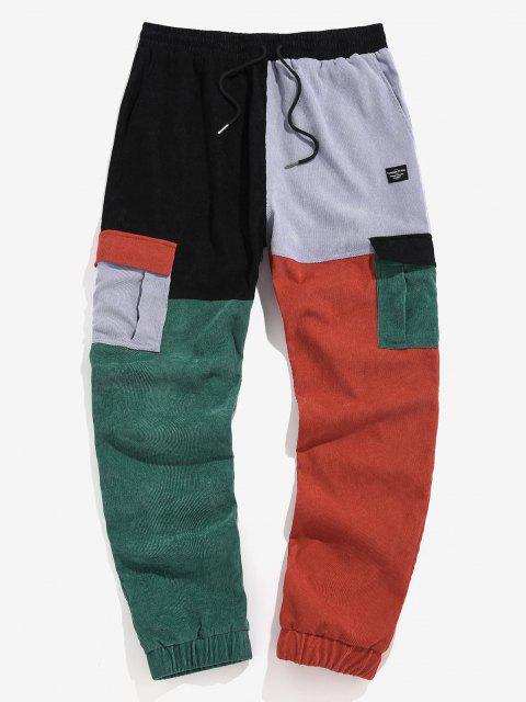 trendy ZAFUL Colorblock Patchwork Beam Feet Cargo Pants - MULTI 2XL Mobile