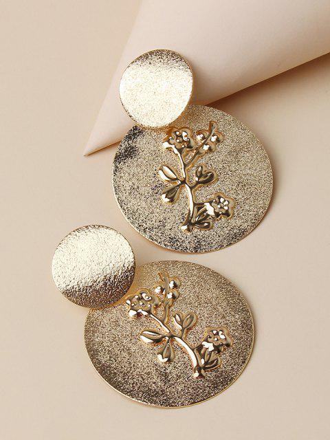 shop Embossed Floral Disc Earrings - GOLDEN  Mobile