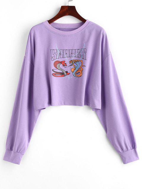 Snake Print Cropped Graphic Sweatshirt - ضوء ارجواني M Mobile