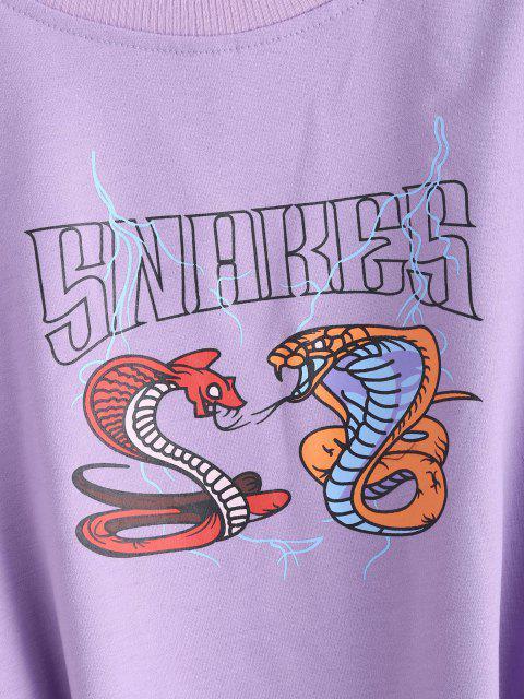 Sweat-shirt Court Graphique Serpent Imprimé - Violet clair M Mobile