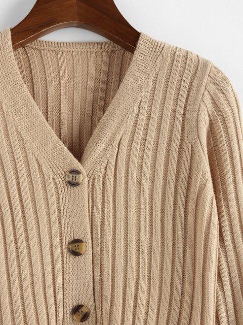 women ZAFUL Ribbed Button Up Crop Cardigan - LIGHT COFFEE L Mobile