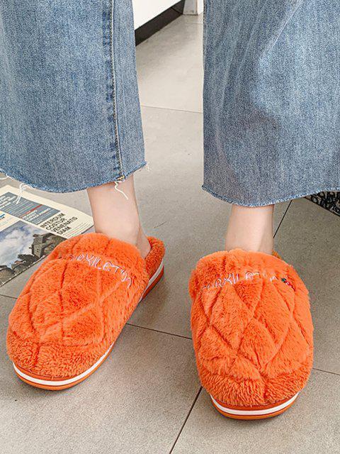 womens Strawberry Pattern Faux Fur Fuzzy Slippers - ORANGE EU 38 Mobile