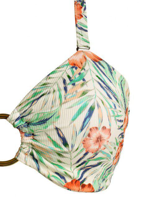 online ZAFUL Plus Size Ribbed Floral Leaf O-ring Ruched Bikini Swimwear - MULTI XL Mobile