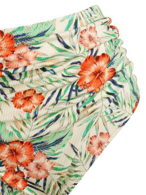 ZAFUL Übergröße Blumen Blatt Gerippte Bikinihose - Multi XL Mobile
