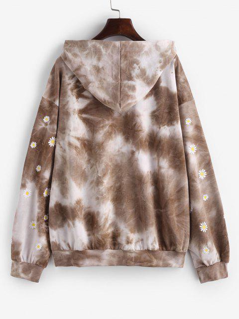 Tie Dye Floral Print Drop Shoulder Hoodie - قهوة S Mobile