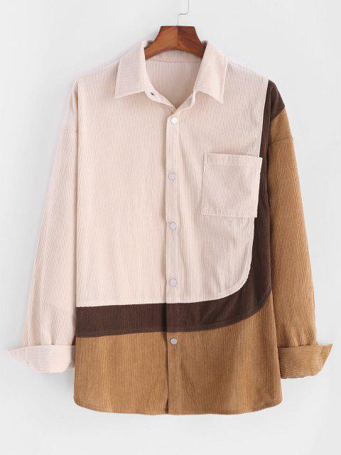 hot Colorblock Corduroy Snap Button Front Pocket Shirt - LIGHT COFFEE S Mobile