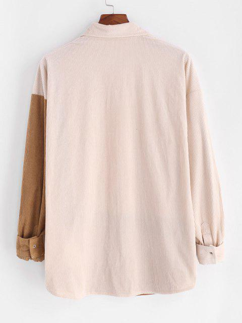 lady Colorblock Corduroy Snap Button Front Pocket Shirt - LIGHT COFFEE XL Mobile
