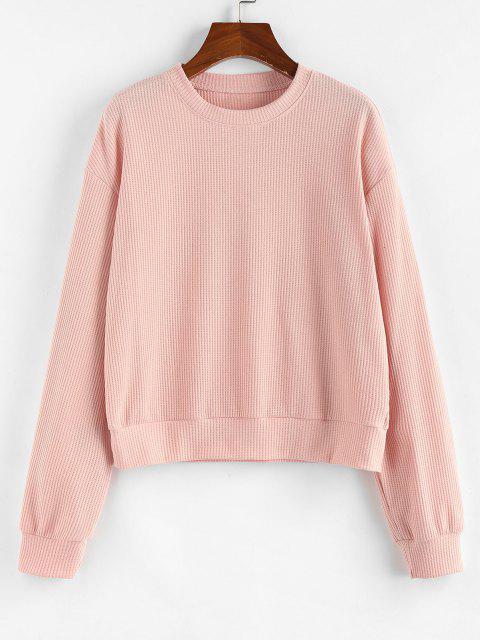 sale ZAFUL Drop Shoulder Ribbed Sweatshirt - LIGHT PINK M Mobile