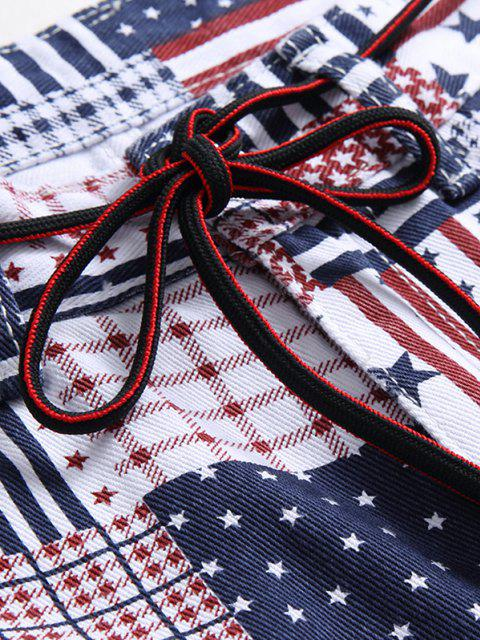 affordable American Flag Allover Pattern Denim Jeans - MULTI-A 32 Mobile