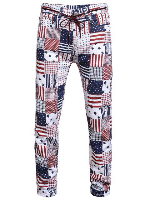 American Flag Allover Pattern Denim Jeans - متعددة-A 34 Mobile