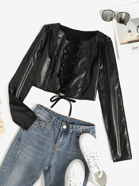 outfits Faux Leather Lace Up Stitching Cropped Top - BLACK M Mobile