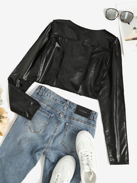 new Faux Leather Lace Up Stitching Cropped Top - BLACK S Mobile