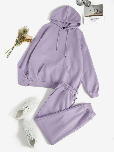 Front Pocket Fleece Lined Two Piece Sweat Suit - ضوء ارجواني L Mobile