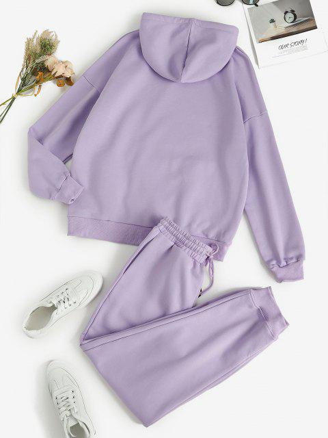 buy Front Pocket Fleece Lined Two Piece Sweat Suit - LIGHT PURPLE L Mobile