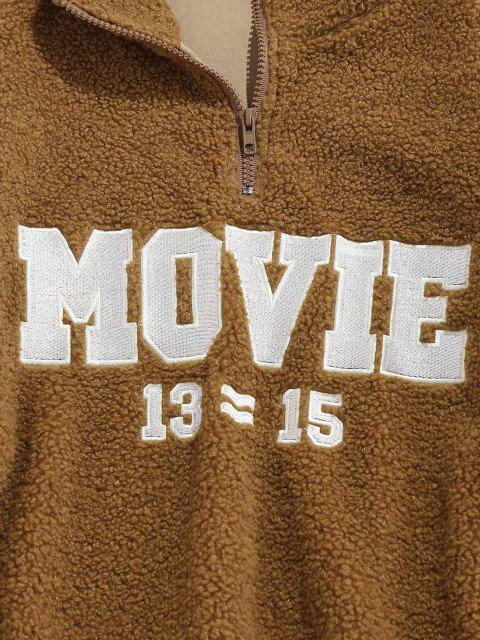 lady ZAFUL Movie Embroidery Half Zipper Teddy Sweatshirt - COFFEE L Mobile