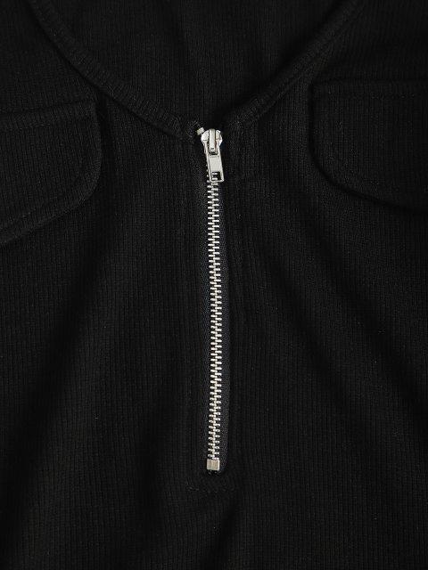 unique Quarter Zip Flap Detail Ribbed Bodysuit - BLACK S Mobile