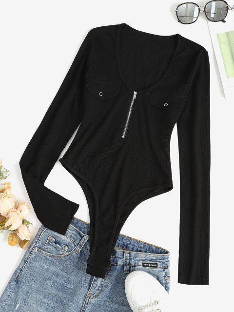 unique Quarter Zip Flap Detail Ribbed Bodysuit - BLACK M Mobile
