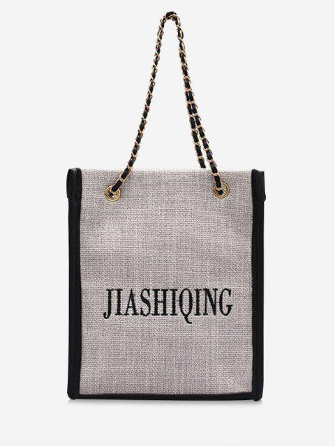fashion Letter Embroidery Canvas Chain Tote Bag - BLACK  Mobile