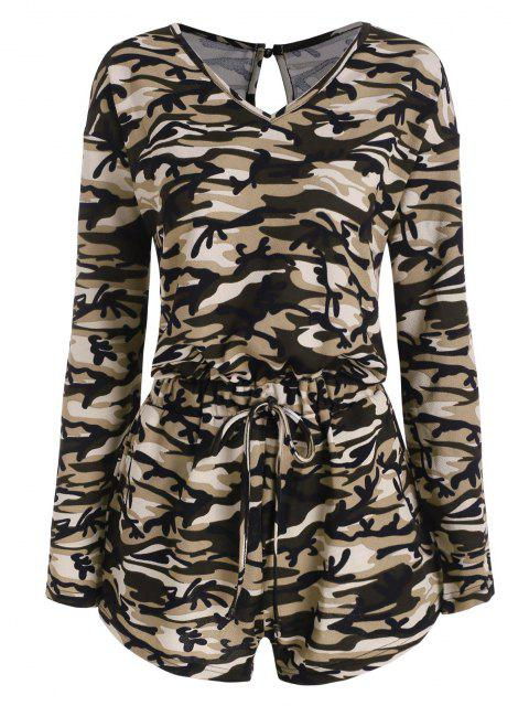 buy Camo Long Sleeve Lounge Romper - DEEP GREEN S Mobile
