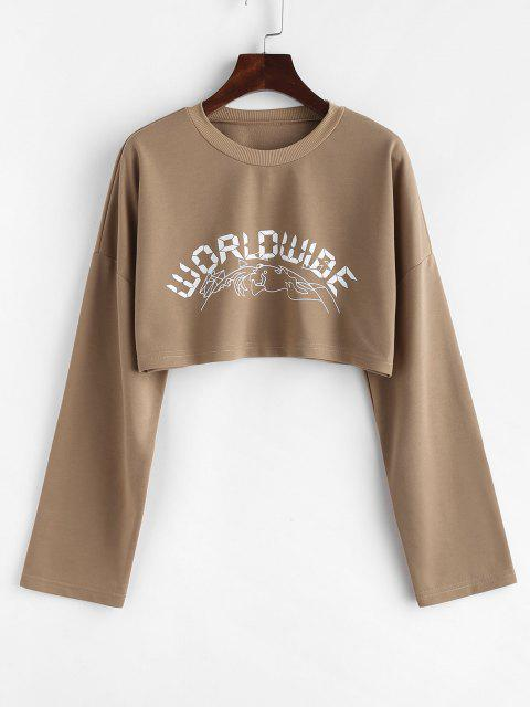 affordable Letter Graphic Print Cropped Sweatshirt - COFFEE L Mobile