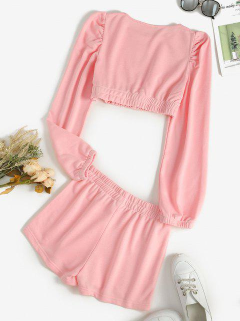 sale Cropped Plain Short Two Piece Sweat Suit - LIGHT PINK S Mobile