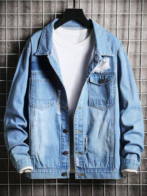 Veste Délavée Déchirée avec Poche à Rabat en Jean - Bleu XL Mobile