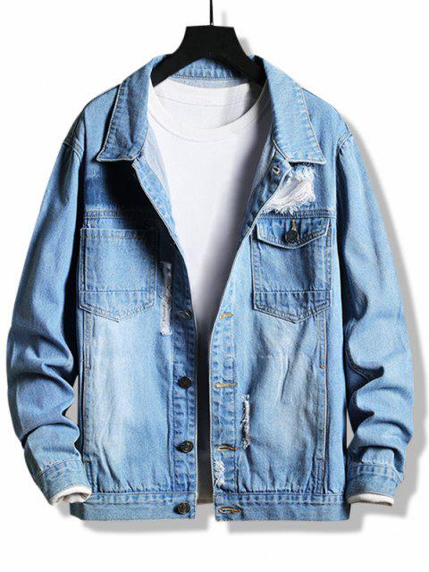trendy Destroy Wash Flap Pocket Ripped Jean Jacket - BLUE XS Mobile