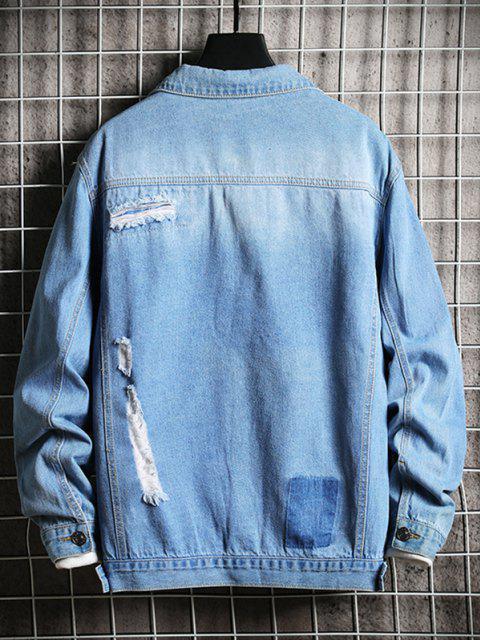 trendy Destroy Wash Flap Pocket Ripped Jean Jacket - BLUE XS Mobile