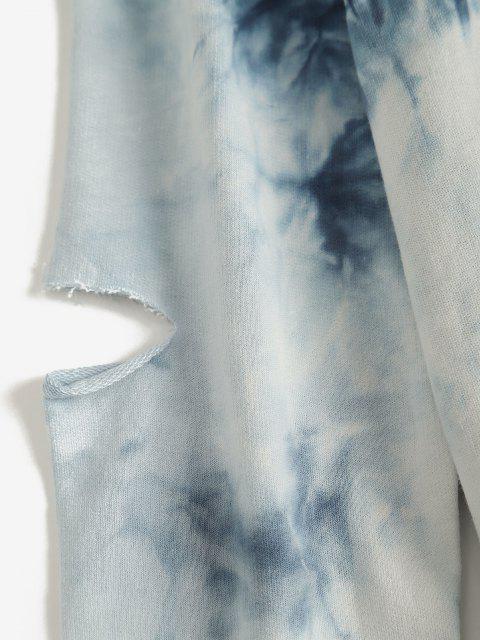 Sweat-shirt Découpé Teinté à Ourlet Brut - Bleu M Mobile