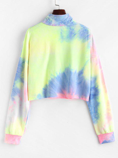 shop Tie Dye Print Half Zip Cropped Sweatshirt - MULTI M Mobile
