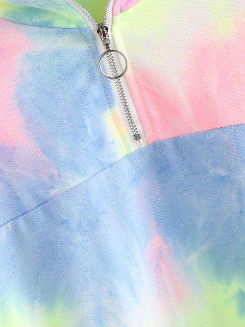 outfits Tie Dye Print Half Zip Cropped Sweatshirt - MULTI L Mobile