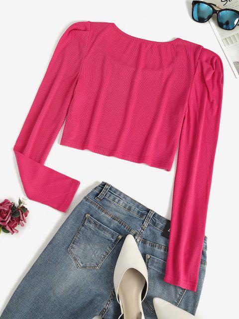 Camiseta Rugoso Barriga de Fora com Manga Puff - Luz rosa S Mobile