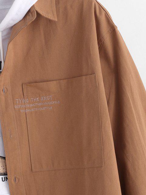 Veste Chemise Lettre Brodée avec Poche Jointive - Brun M Mobile