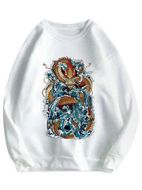 online Crewneck Fleece Lined Oriental Dragon Print Sweatshirt - WHITE XL Mobile