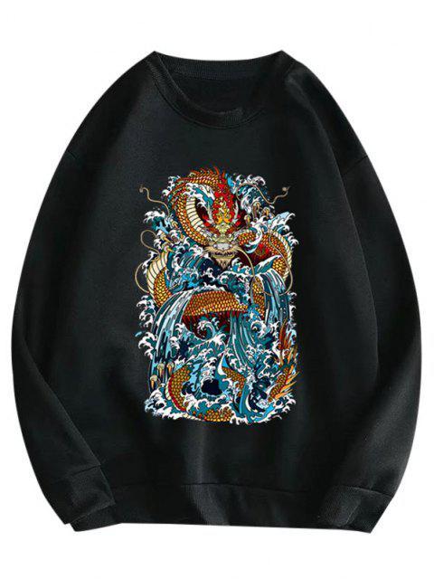 trendy Crewneck Fleece Lined Oriental Dragon Print Sweatshirt - BLACK M Mobile