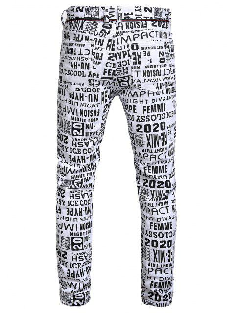 sale Letter Allover Pattern Zip Fly Jeans - MULTI-A 32 Mobile