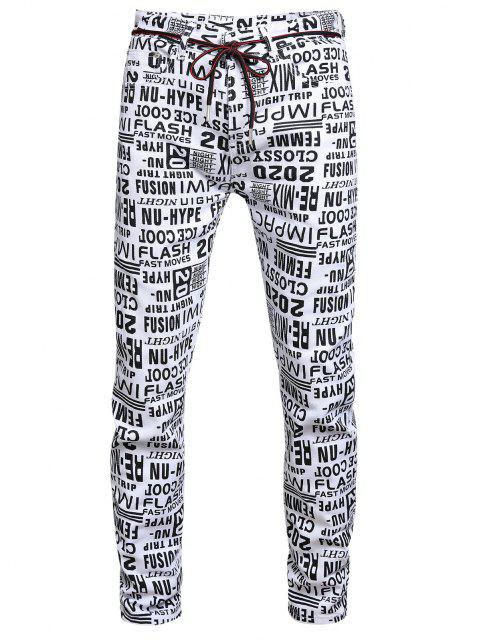 womens Letter Allover Pattern Zip Fly Jeans - MULTI-A 38 Mobile