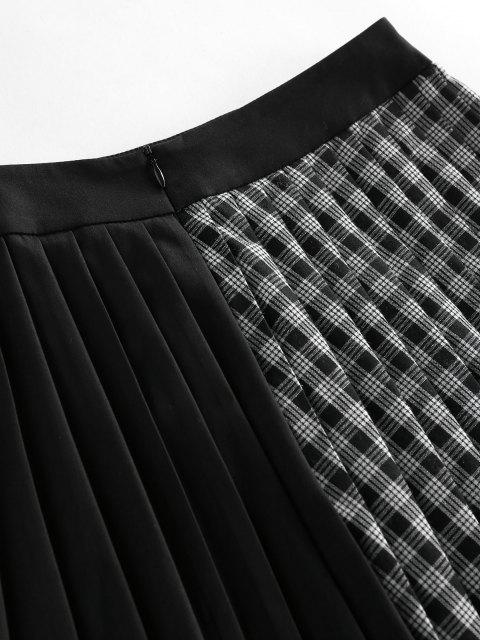 fashion ZAFUL Plaid Pleated Preppy Mini Skirt - BLACK S Mobile