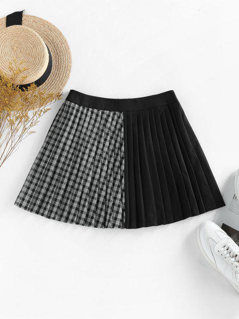 lady ZAFUL Plaid Pleated Preppy Mini Skirt - BLACK M Mobile