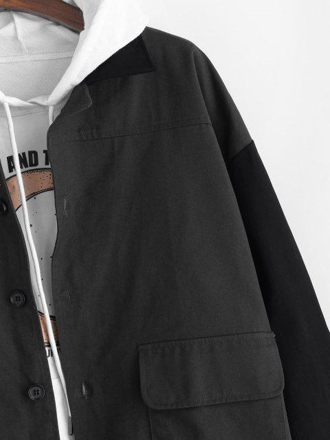 配色パッチワークパネルボタン付きジャケット - グレー 2XL Mobile