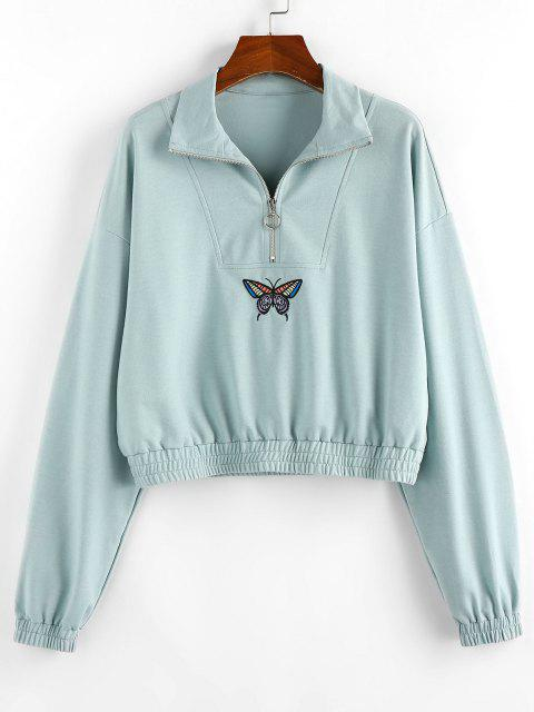 chic ZAFUL Drop Shoulder Butterfly Crop Sweatshirt - CYAN OPAQUE S Mobile