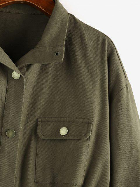 outfits ZAFUL Drop Shoulder Drawstring Waist Pockets Jacket - ARMY GREEN S Mobile