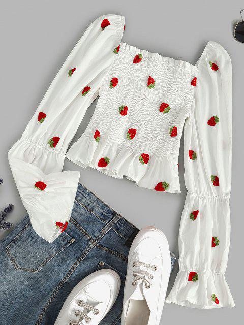 lady Smocked Strawberry Embroidered Milkmaid Blouse - WHITE M Mobile