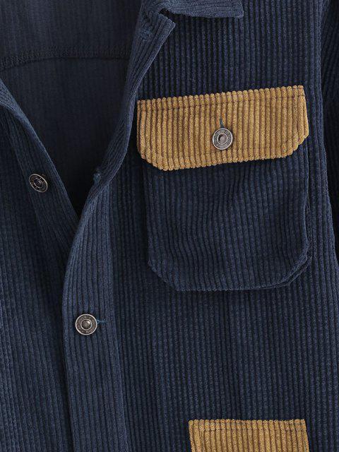 chic Colorblock Multi Pockets Corduroy Shacket - BLUE 2XL Mobile
