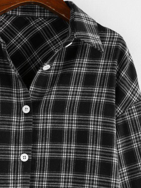 affordable ZAFUL Plaid Drop Shoulder Long Shirt - BLACK M Mobile