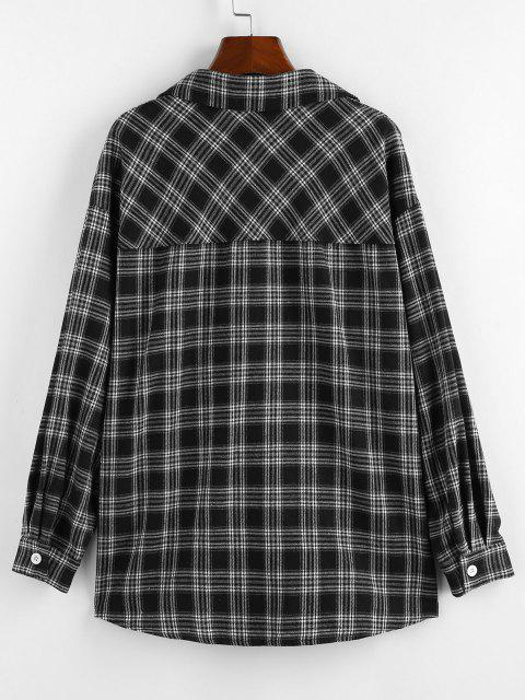 women ZAFUL Plaid Drop Shoulder Long Shirt - BLACK S Mobile